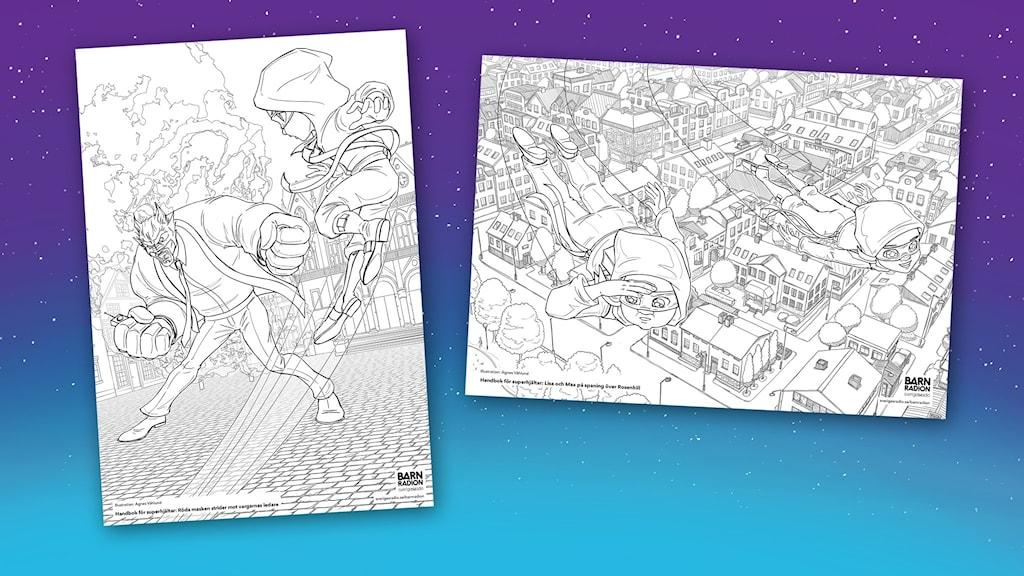 Två motiv med färgläggningsbilder till Handbok för superhjältar