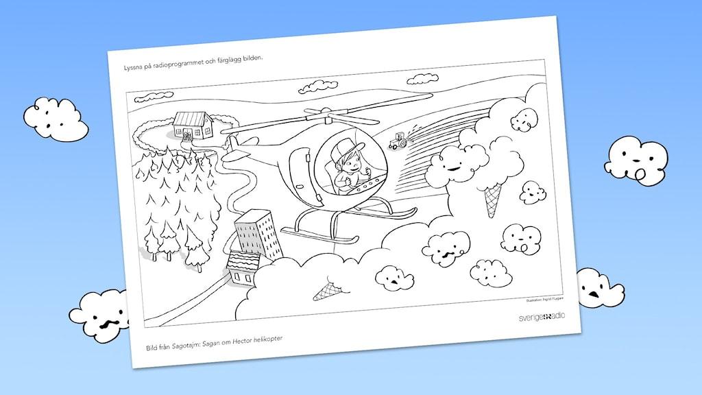 En färgläggningsbild från avsnittet Hector helikopter ur serien Sagotajm.