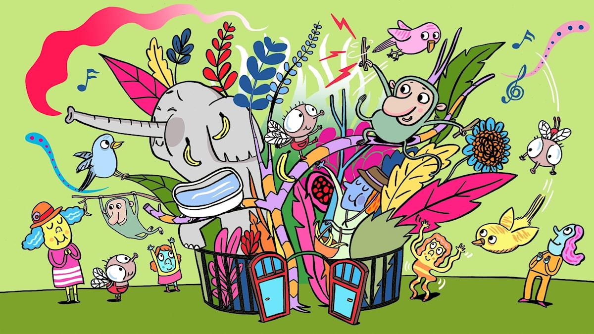 Flippertons flygturer: Vi bildar ett band! Illustratör: Per Karlen.