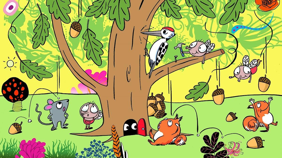 Flippertons flygturer: Vem bor i skogen? Illustratör: Per Karlen.