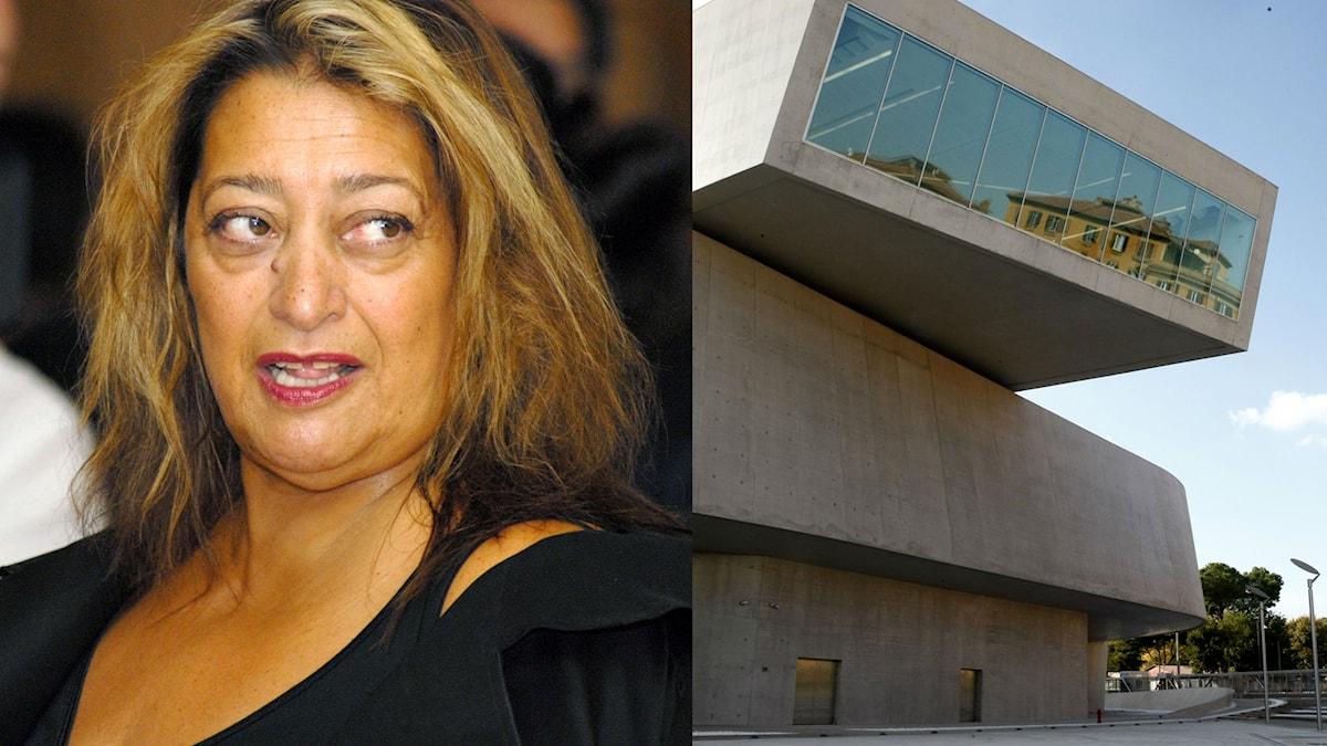 Zaha Hadid 2007 och en av hennes skapelser: Maxxi museum i Rom.