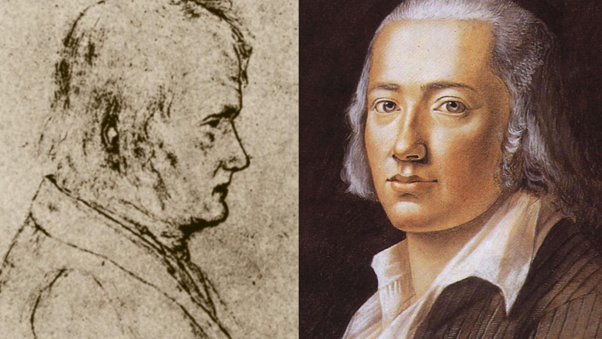 Två bilder av en man. Friedrich Hölderlin porträtterad 1792 (t.h) av Franz Karl Hiemer och av Luise Keller 1842.