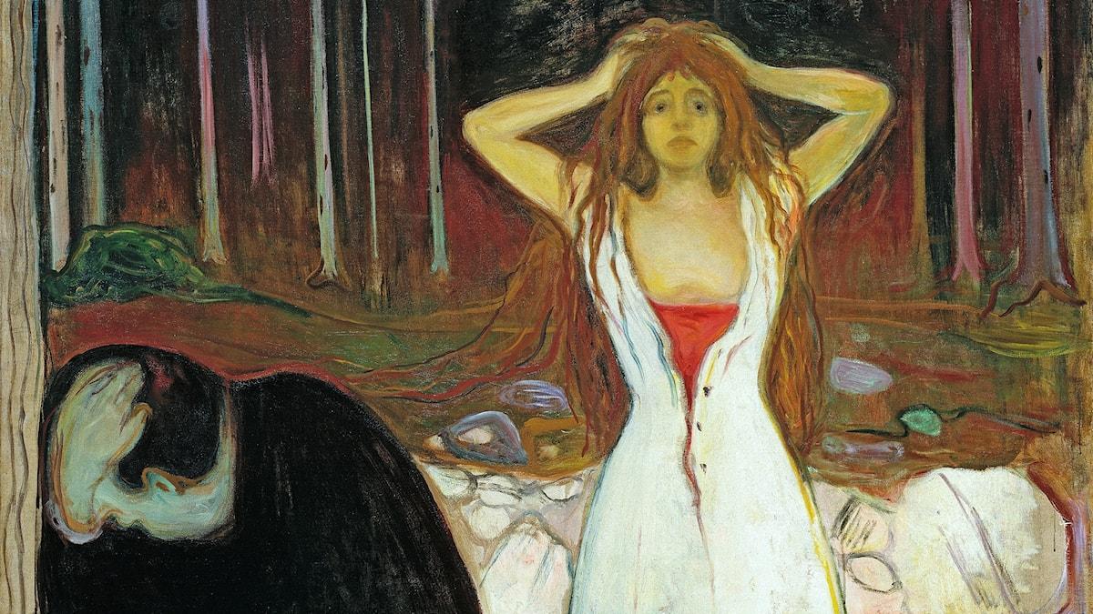 """Dålig stämning, efteråt. Det tycks lättare att skildra dåligt sex på ett bra sätt. I Edward Munchs """"Aska"""" från1894."""