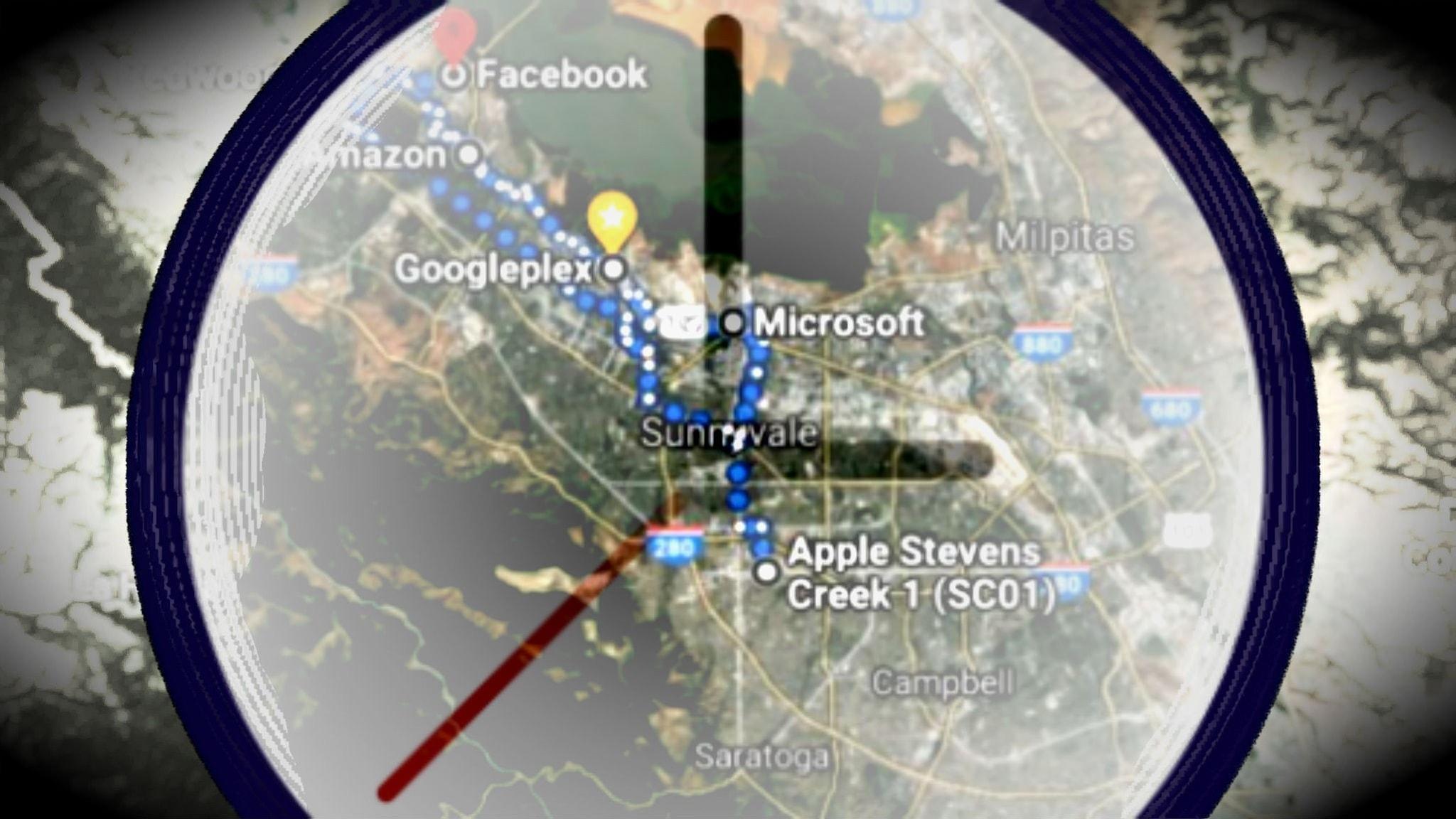 Teknikindustrins fem stora ligger alla på cykelavstånd från varandra i Silicon Valley.