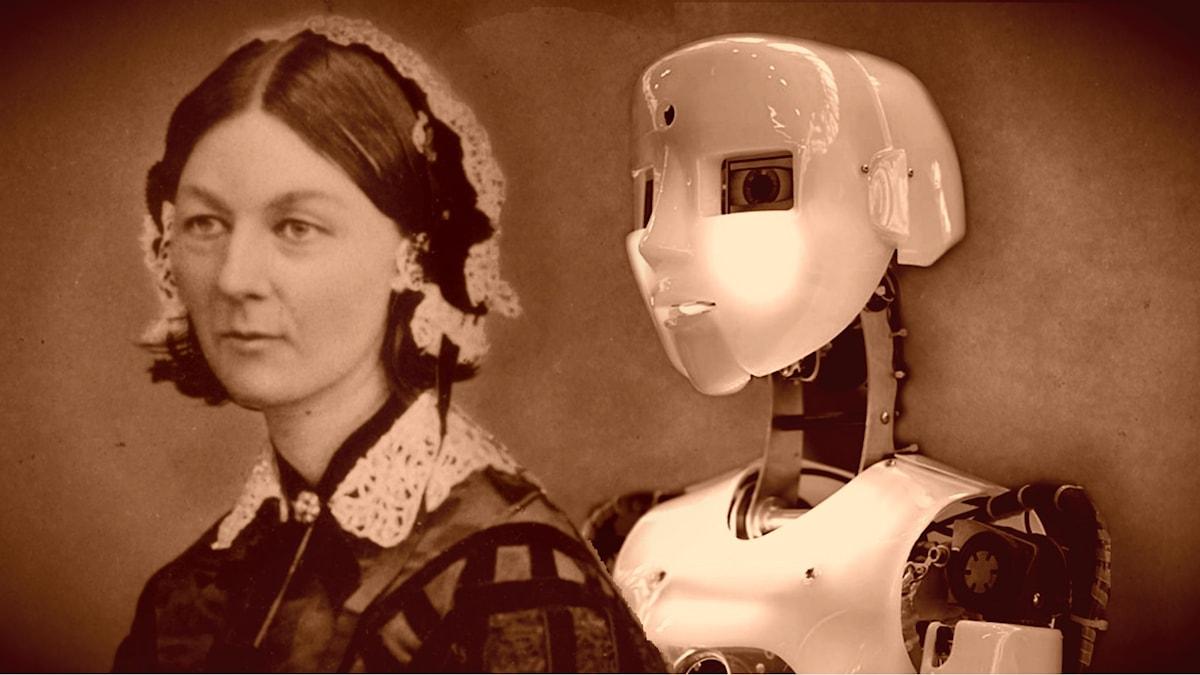 Florence Nightingale tillsammans med en sentida efterföljare (montage).