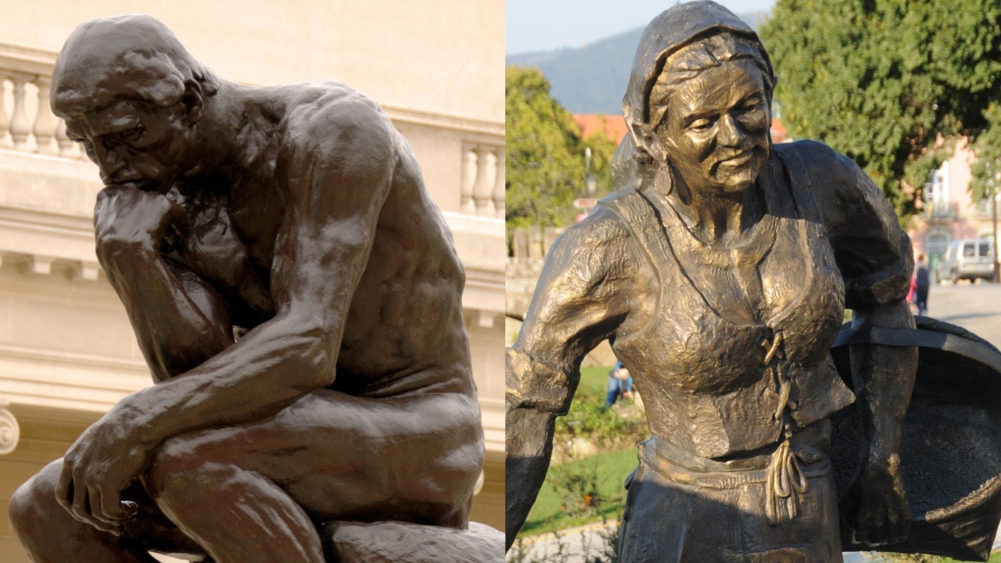 Huvudet och handen. Rodins tänkare och en arbetande kvinna på Ponte de Lima, Portugal.