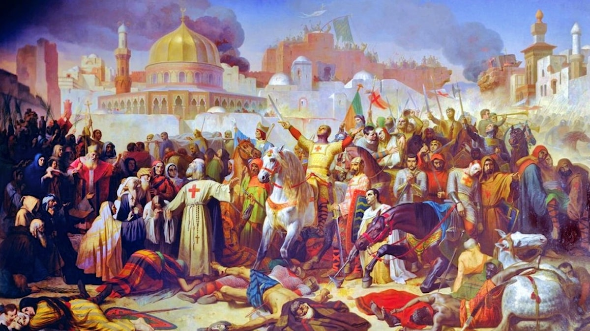"""""""Korsfararna intar Jerusalem""""den 15 juli 1099. Målning av Émile Signol, 1847."""