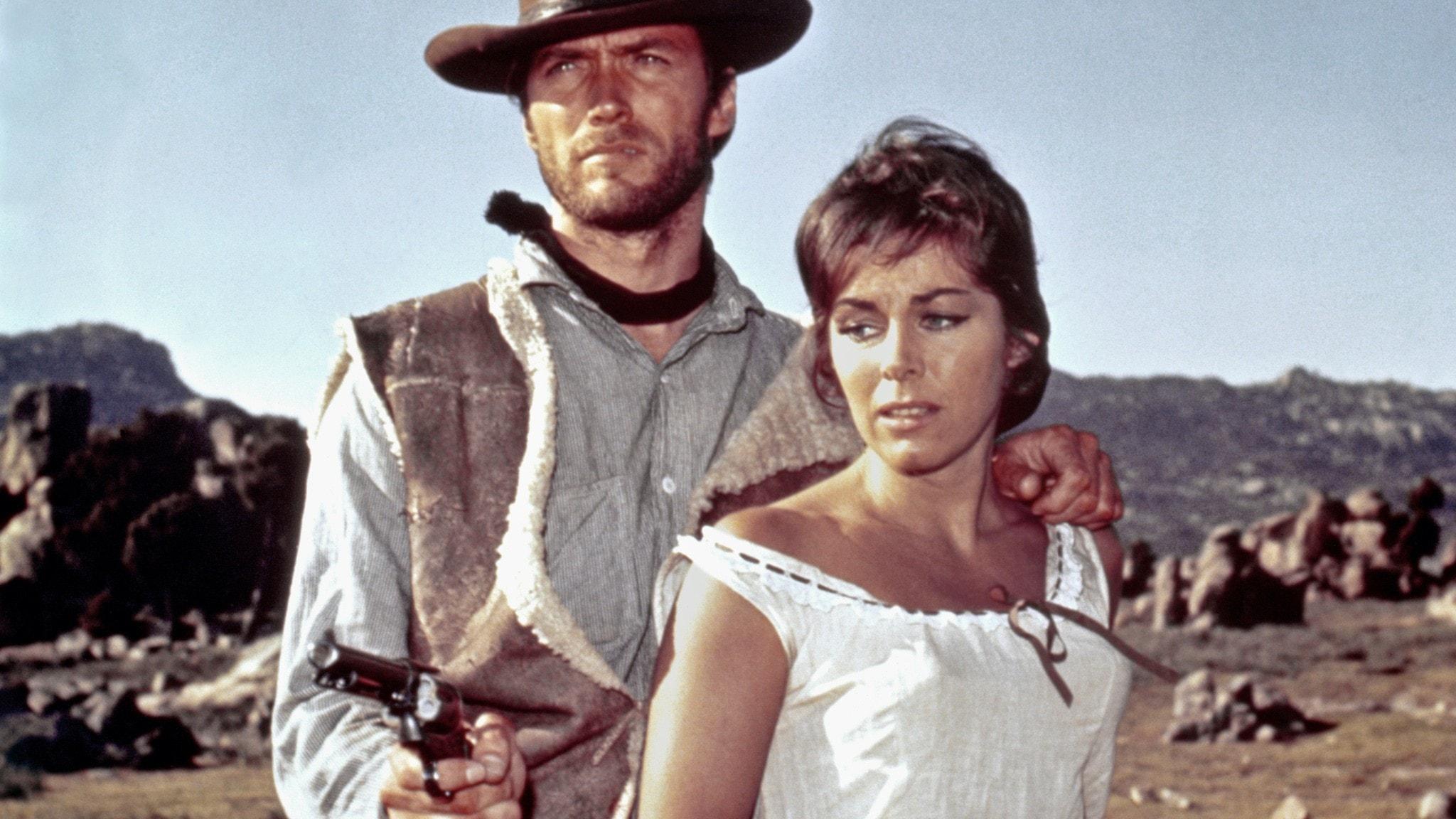 """Clint_Eastwood och Marianne Koch i """"A_Fistful_of_Dollars"""" (1964)"""