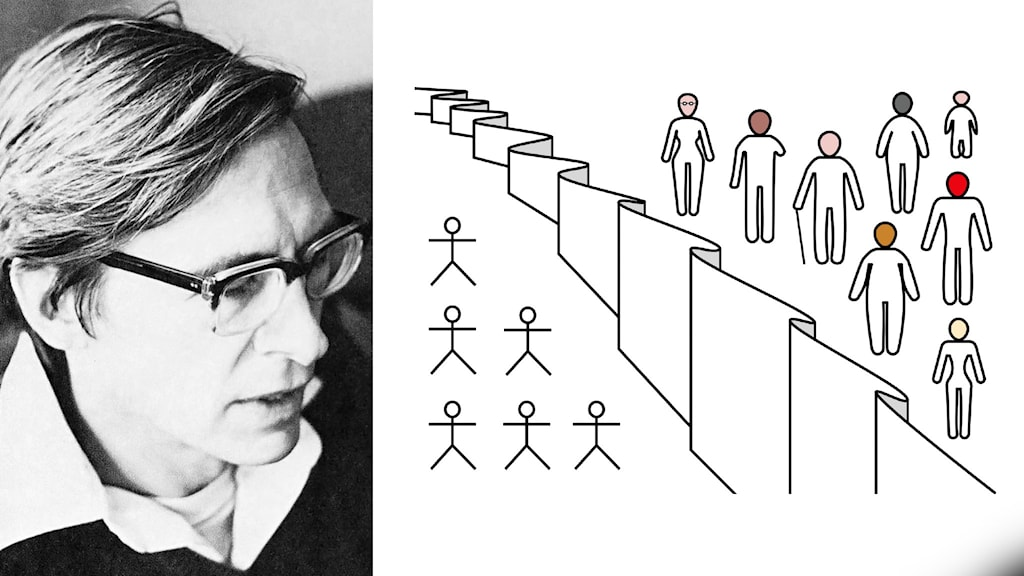 """Filosofen John Rawls bredvid en visualisering av """"the original position"""", tankeexperimentet med okunnighetens släöja."""