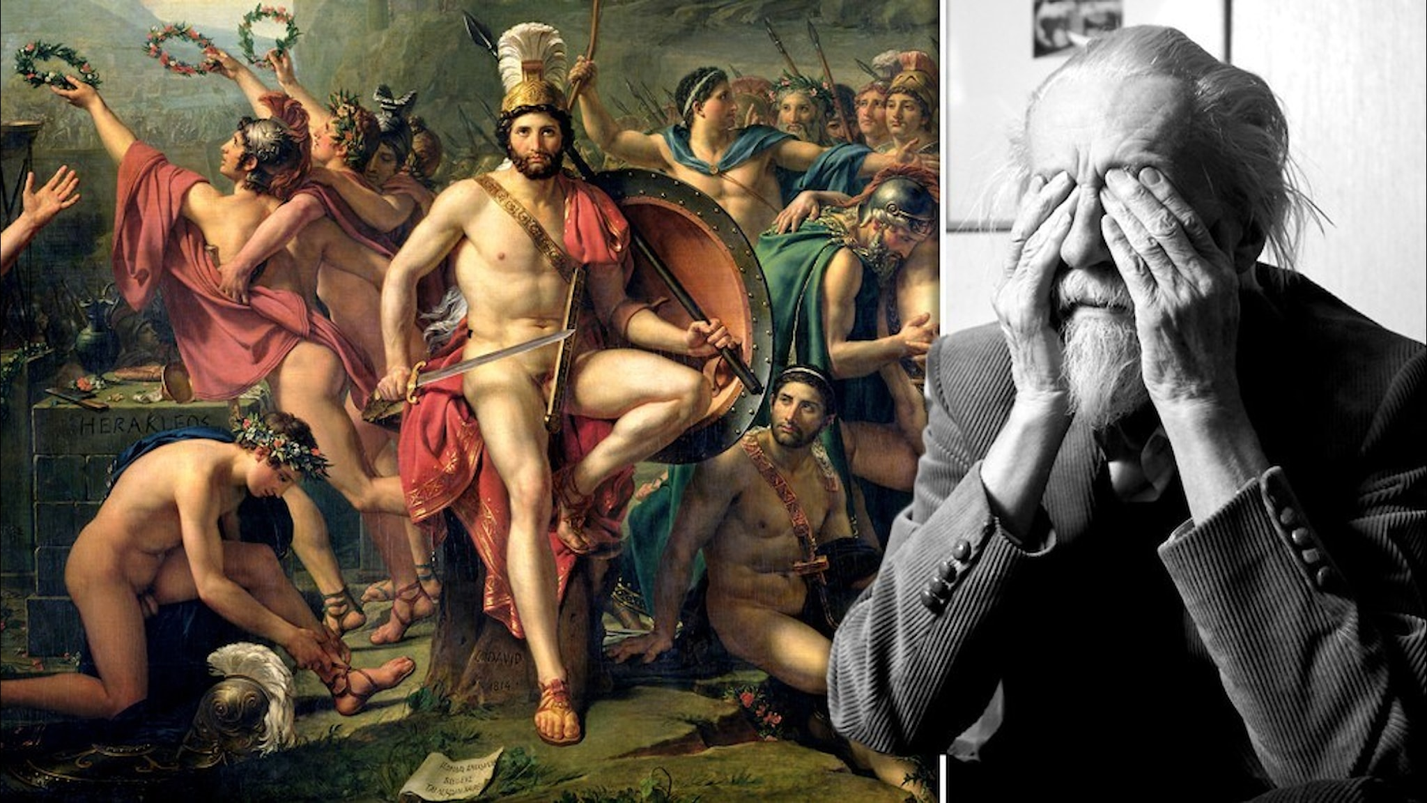 """""""Léonidas aux Thermopyles"""" (beskuren) av Jacques-Louis David (1748-1825) bredvid Willy Kyrklund"""