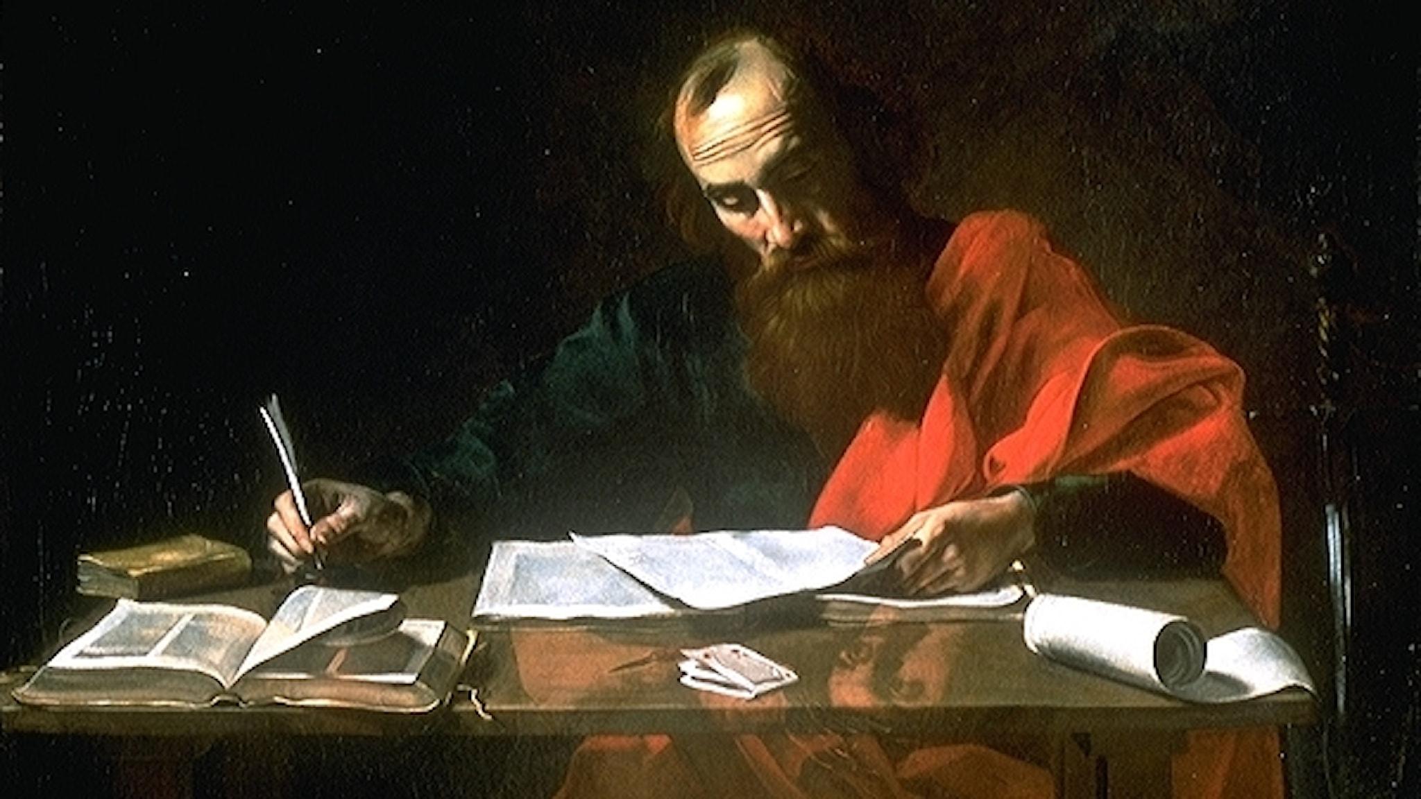 Paulus skriver sina brev, målning av Valentin de Boulogne (1591–1632).