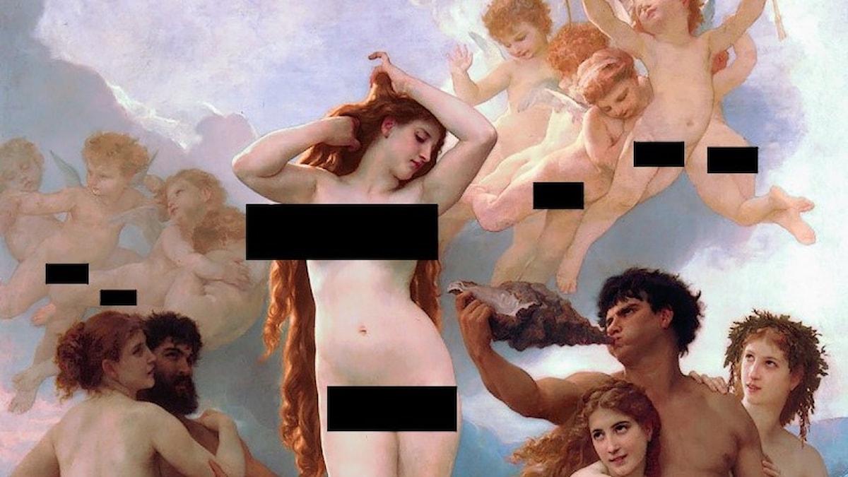 """En censurerad version av av """"Venus födelse"""" av William-Adolphe_Bouguereau (1879)."""