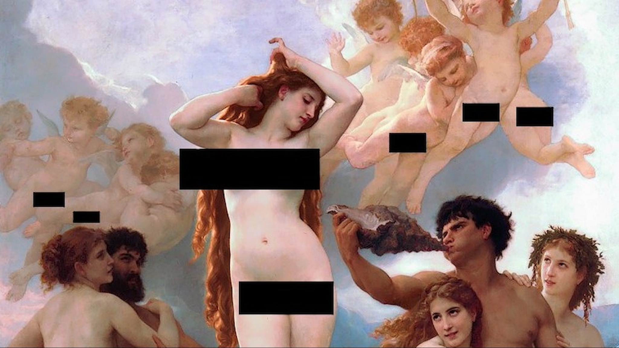 "En censurerad version av av ""Venus födelse"" av William-Adolphe_Bouguereau (1879)."