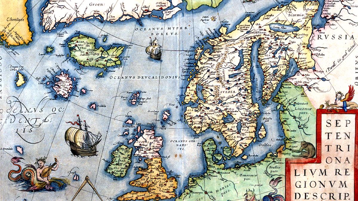 Nordatlanten och dess öar i Abraham Ortelius tolkning, 1573.