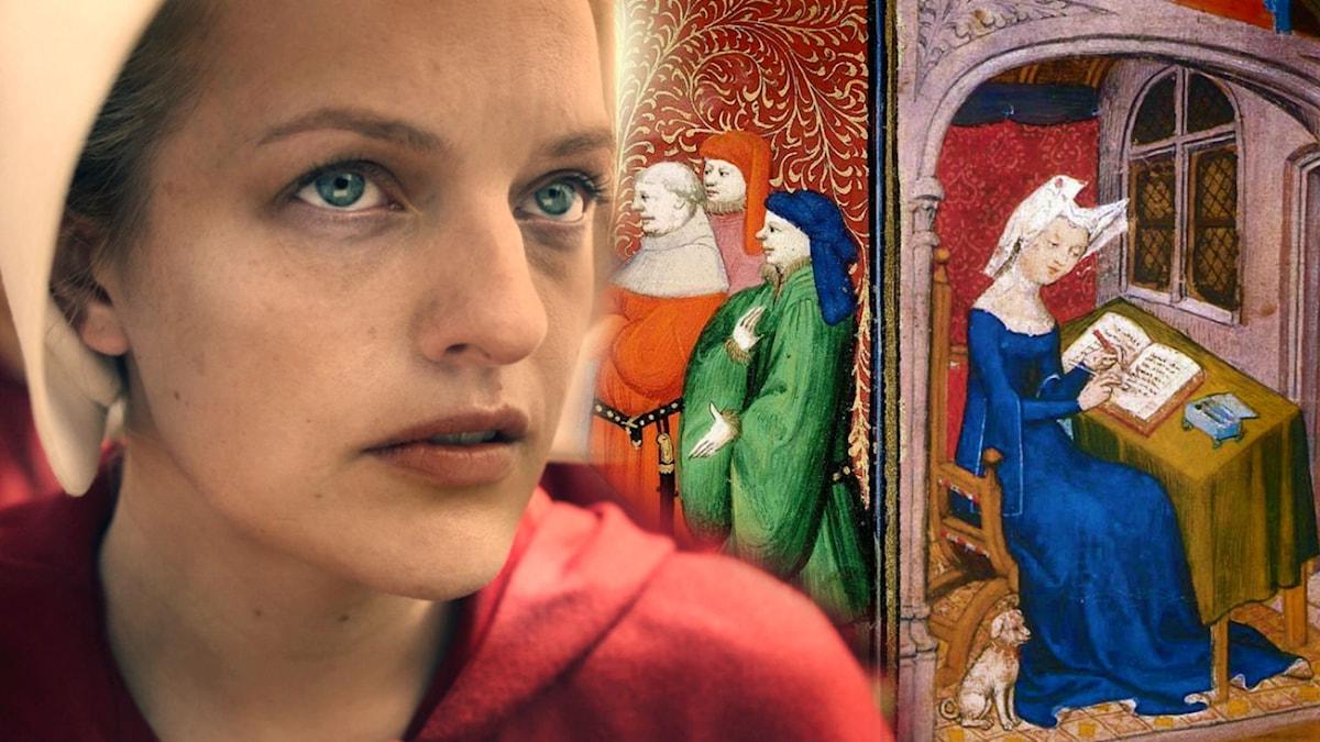 "Elisabeth Moss i ""The Handmaid's Tale"" samt en bild ur Christine de Pizans verk."