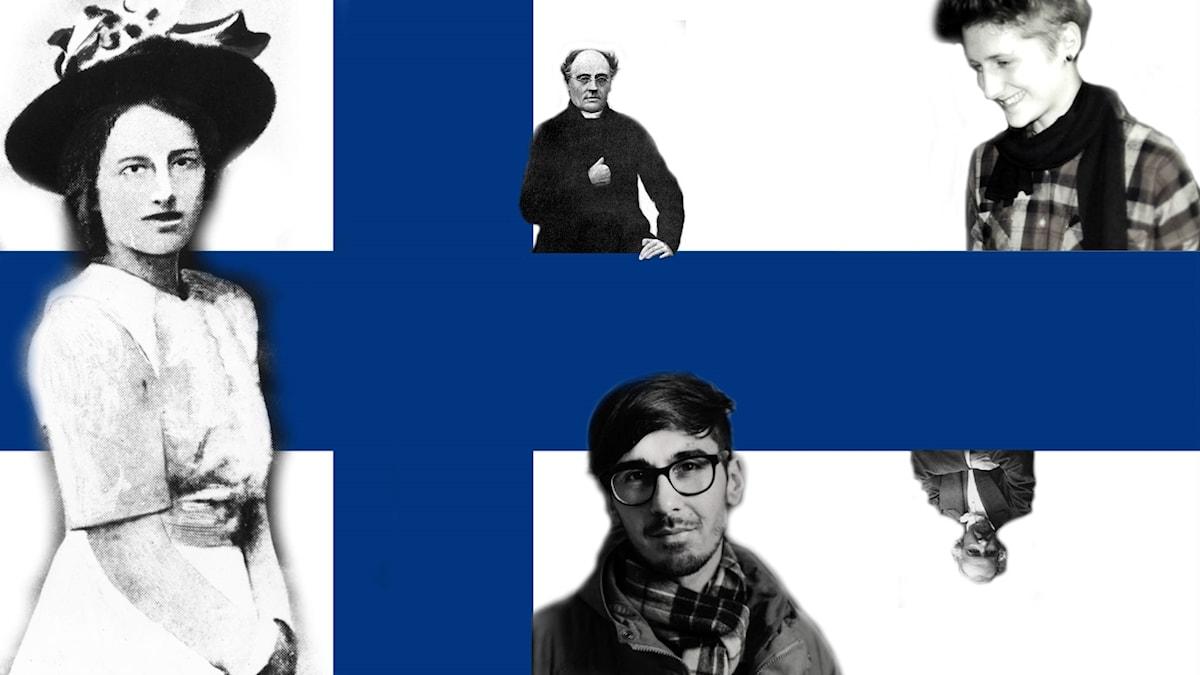 Södergran, Runeberg, Perera, Topelius och Moliis-Mellberg. Ett litet urval framstående finlandssvenska poeter.