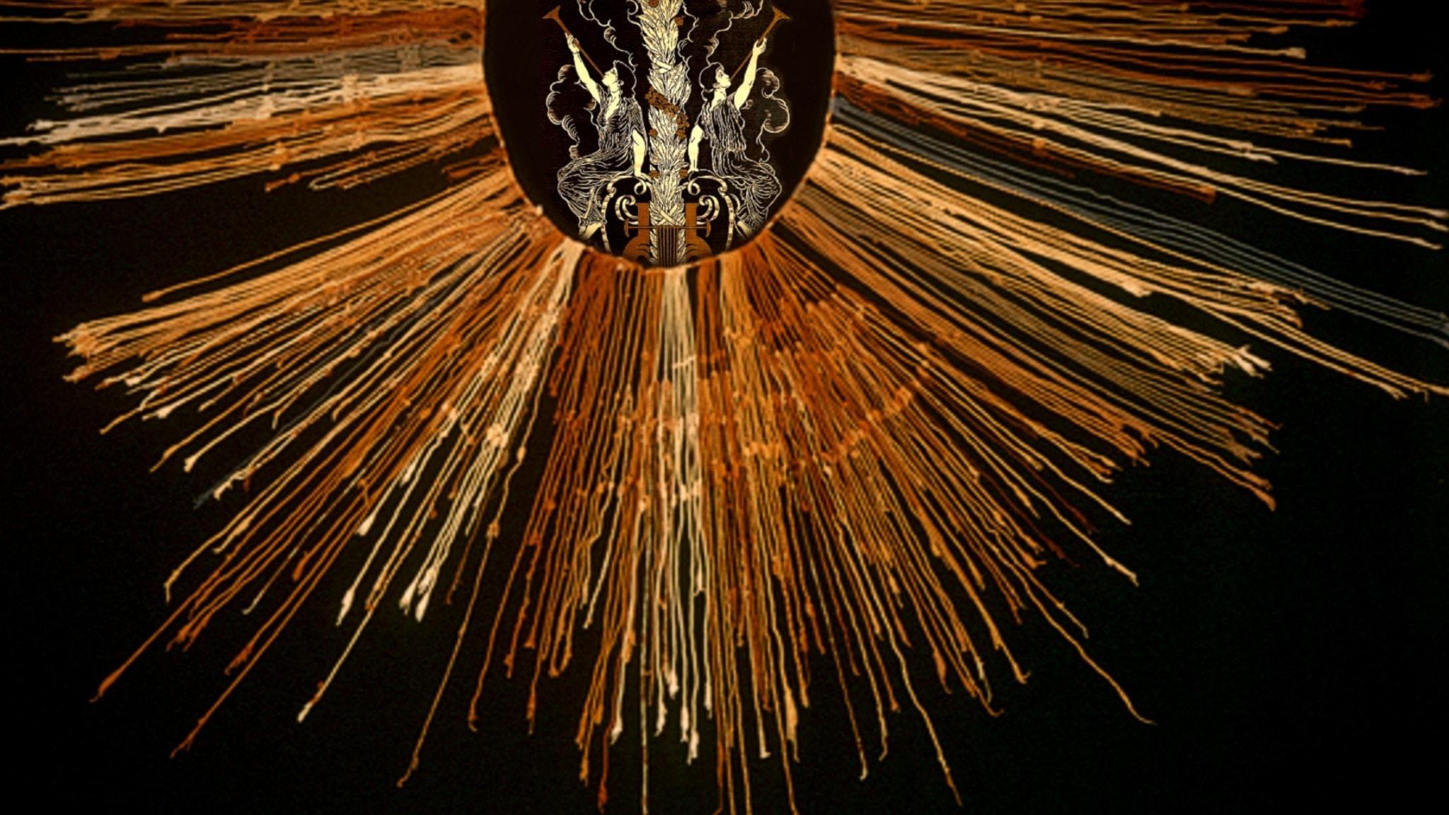 En Inka-khipu från Peru sammanförd med fransk 1900-talstextil.