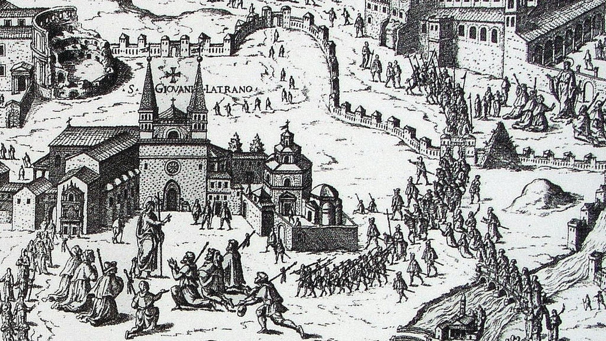 Pilgrimer som kanske kan kallas turister, i Rom på 1500-talet.