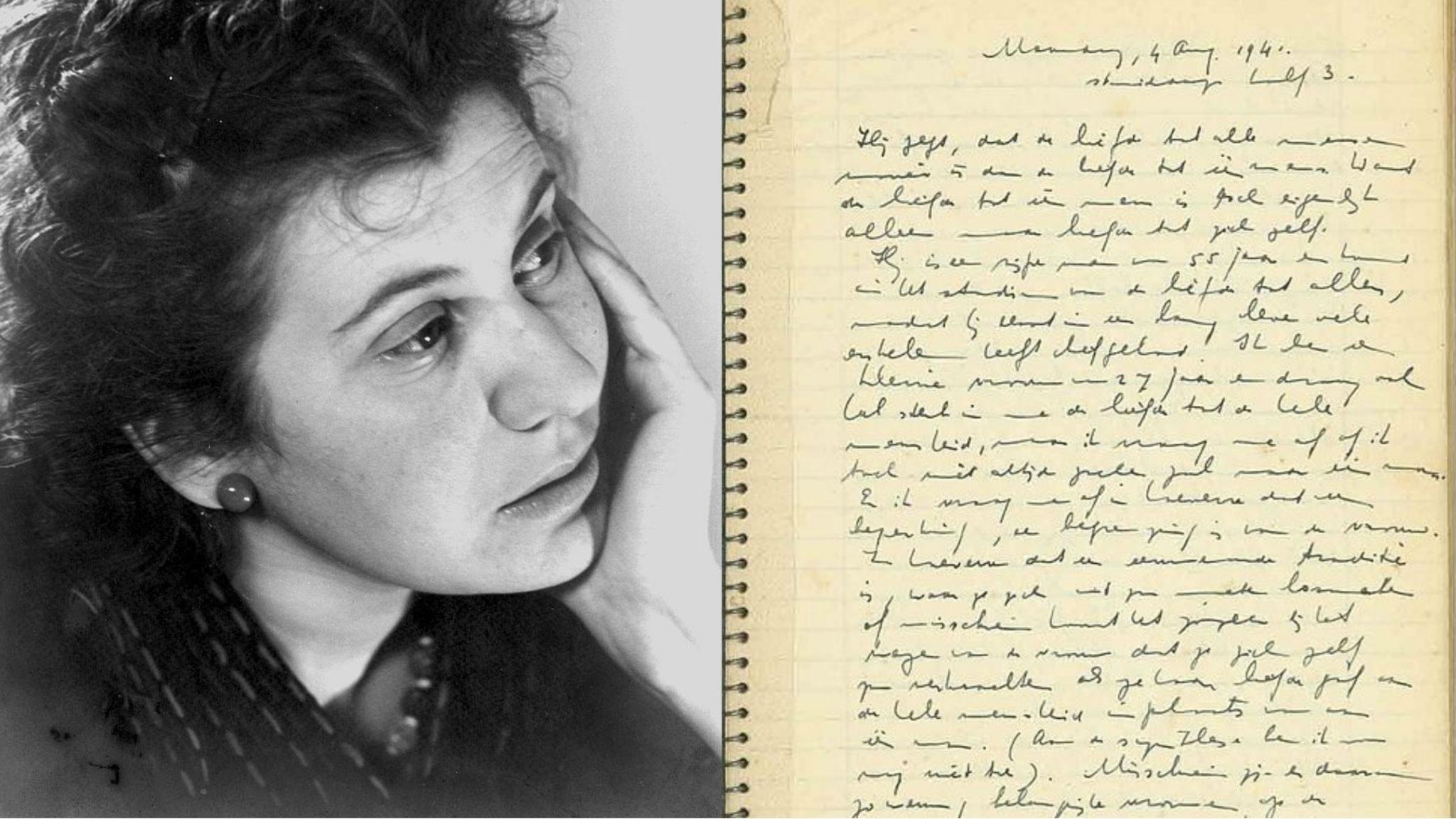 Etty Hillesum bredvid sin dagbok.