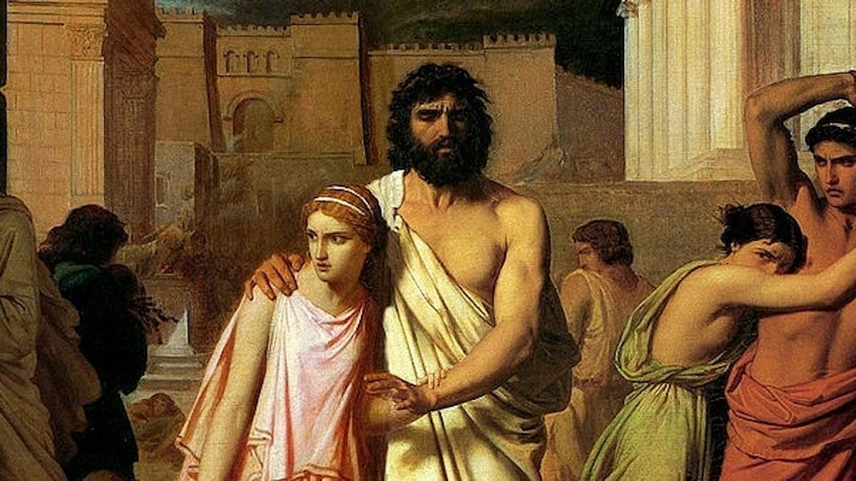 Den befläckade Oidipus leds ut ur Thebe av sin dotter Antigone (Charles Jalabert, 1842).