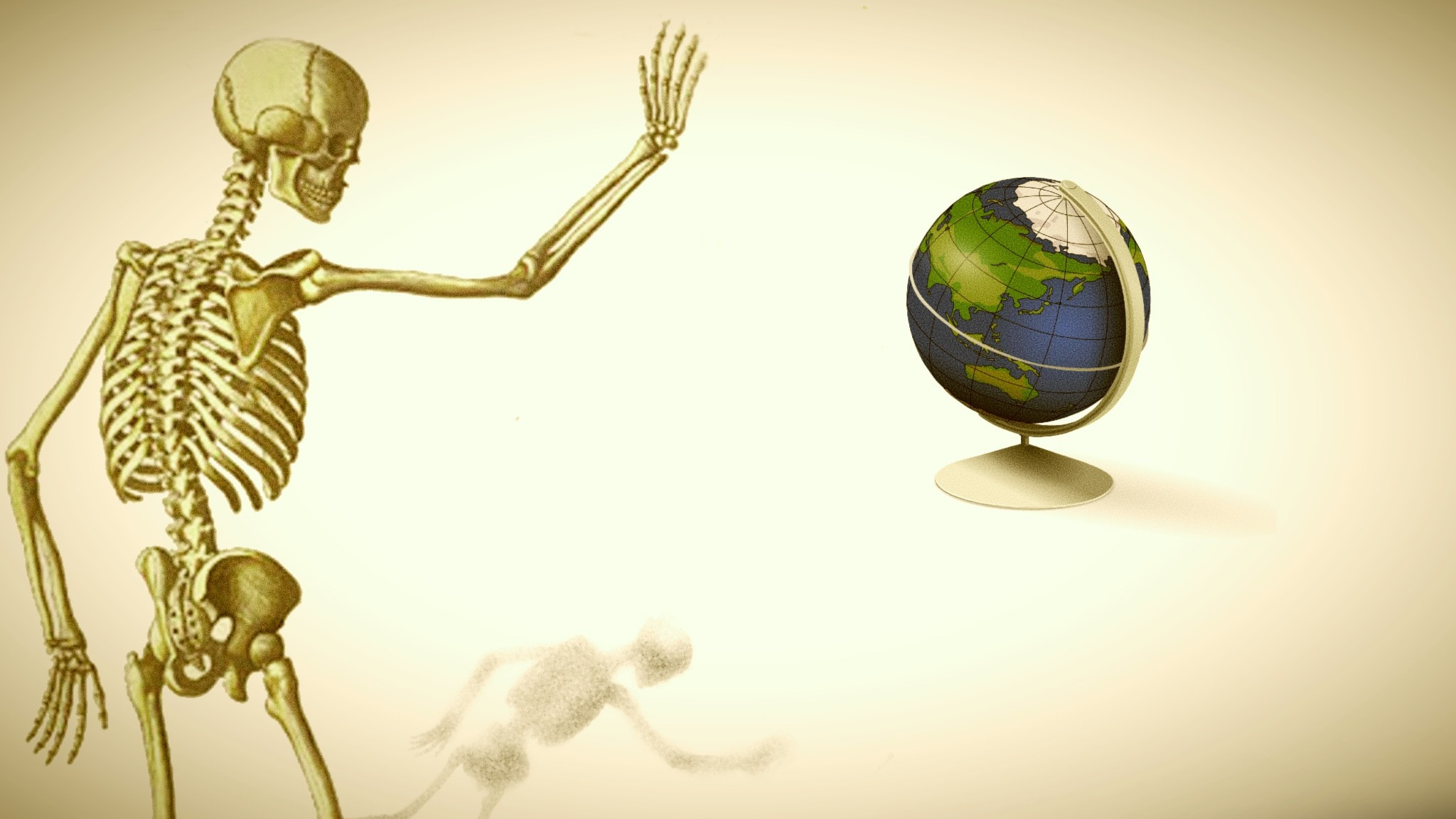 Ett skelett vinkar adjö till jorden.