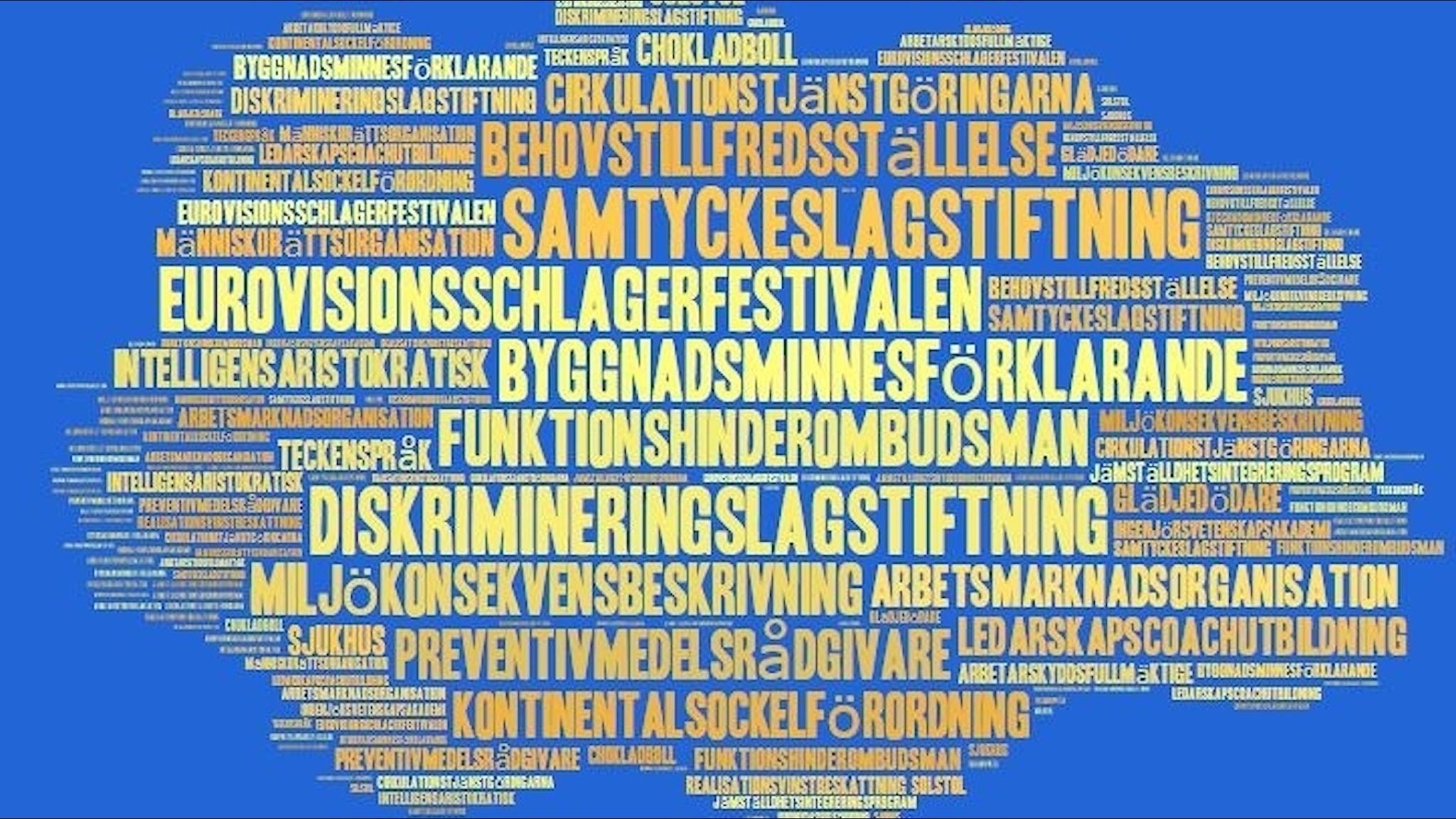 Ord som säger något om Sverige.