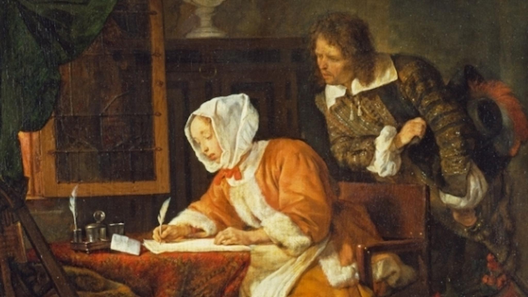Var det en kvinna som skrev den första historiska romanen? Målning av Gabriël Metsu, ca 1662 (detalj)