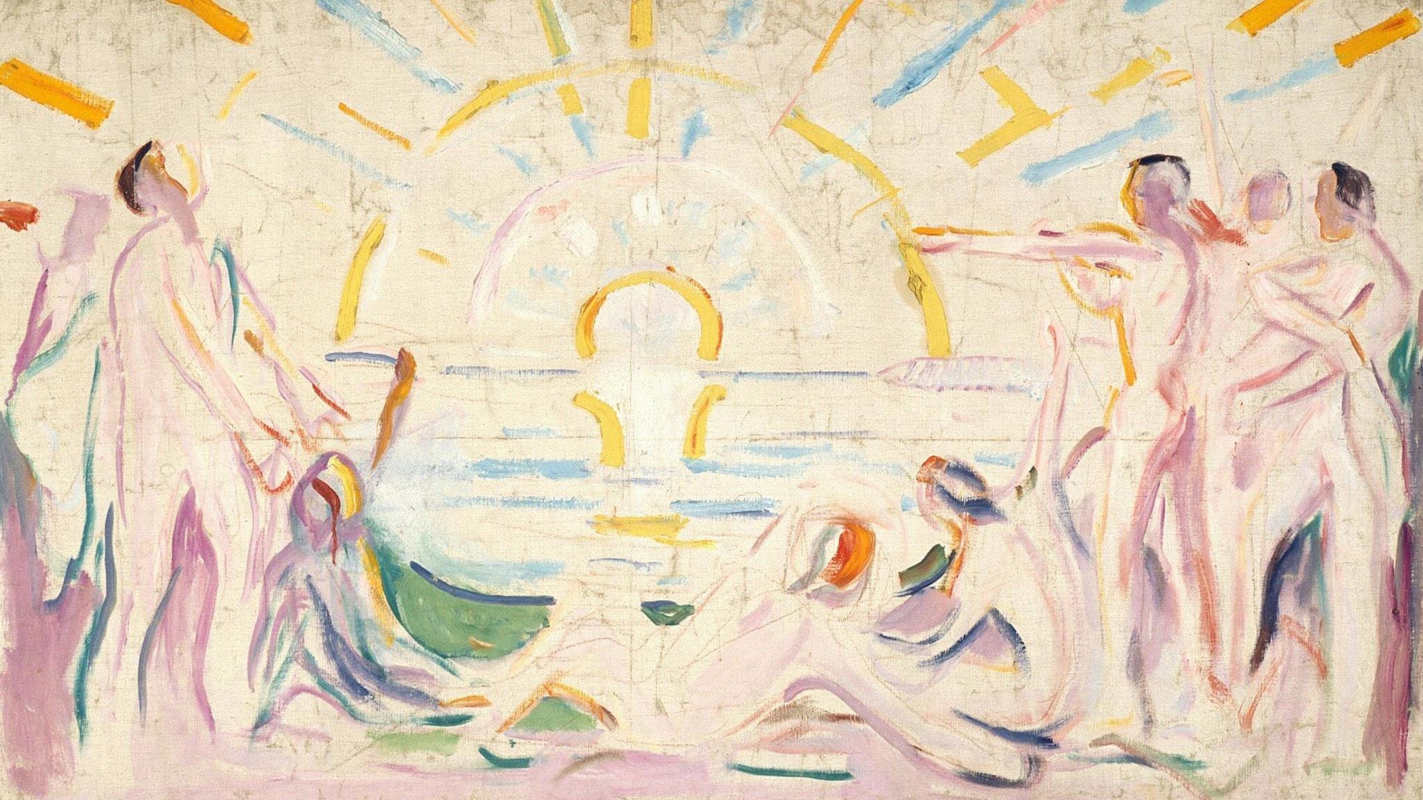 """Edvard Munch: """"Sol og uppvåknende nakne menn"""", 1910-11 (beskuren)"""