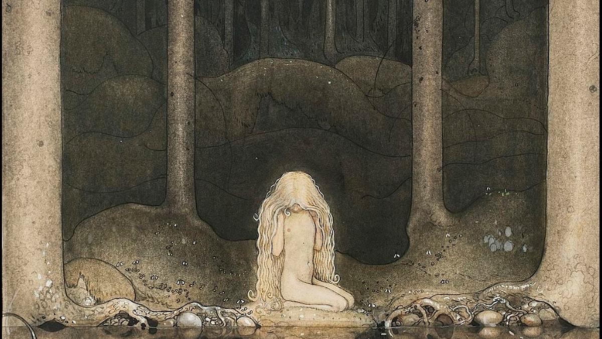 """John Bauer: """"Ännu sitter Tuvstarr kvar och ser ner i vattnet"""", 1913 (beskuren)."""