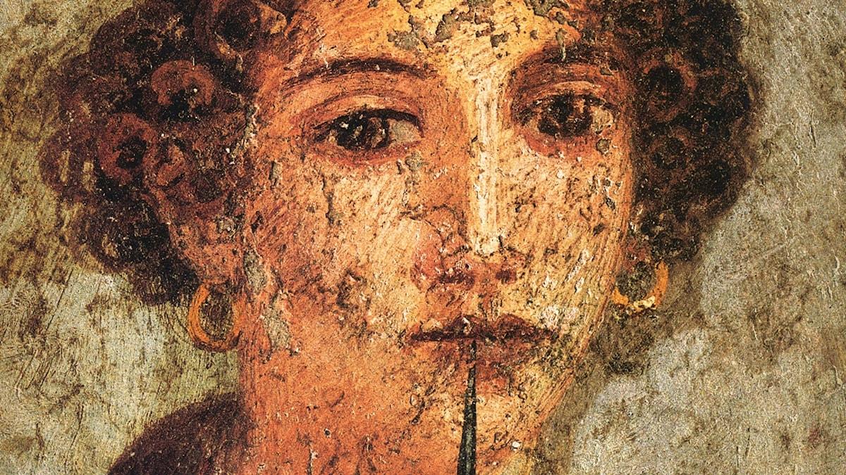 Hur såg Sapfo ut? En fresk från Pompeji som ofta förknippats med Sapfo, men som föreställer någon helt annan.