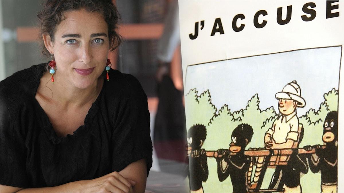 "Joanna Rubin Dranger, professor i illustration på Konstfack i Stockholm, samt en protestbild mot ""Tintin i Kongo""."