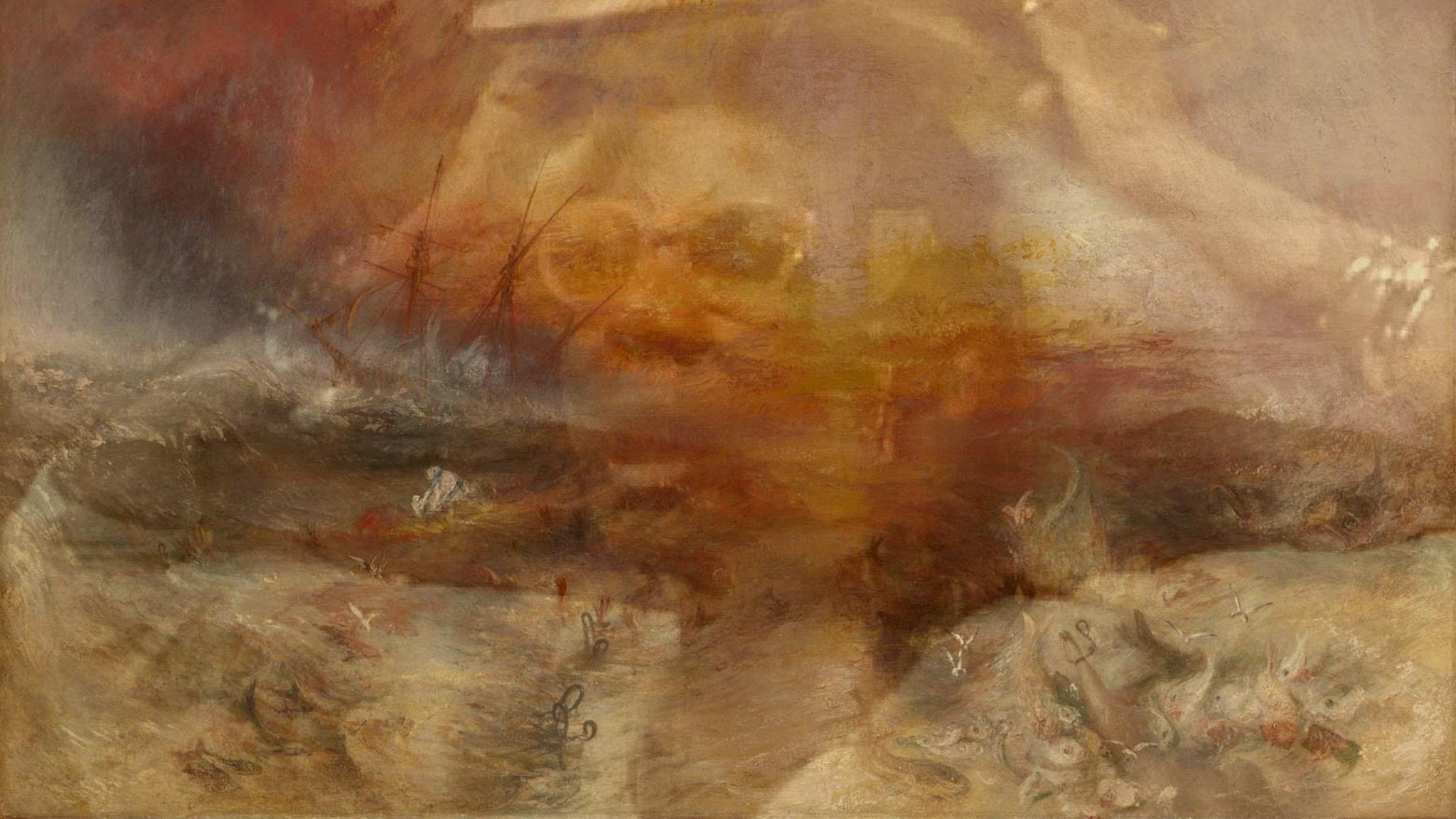 """M NourbeSe Philip under ett av sina framförande av """"Zong!"""" i ett montage med J M W Turners målning """"The slave ship""""."""