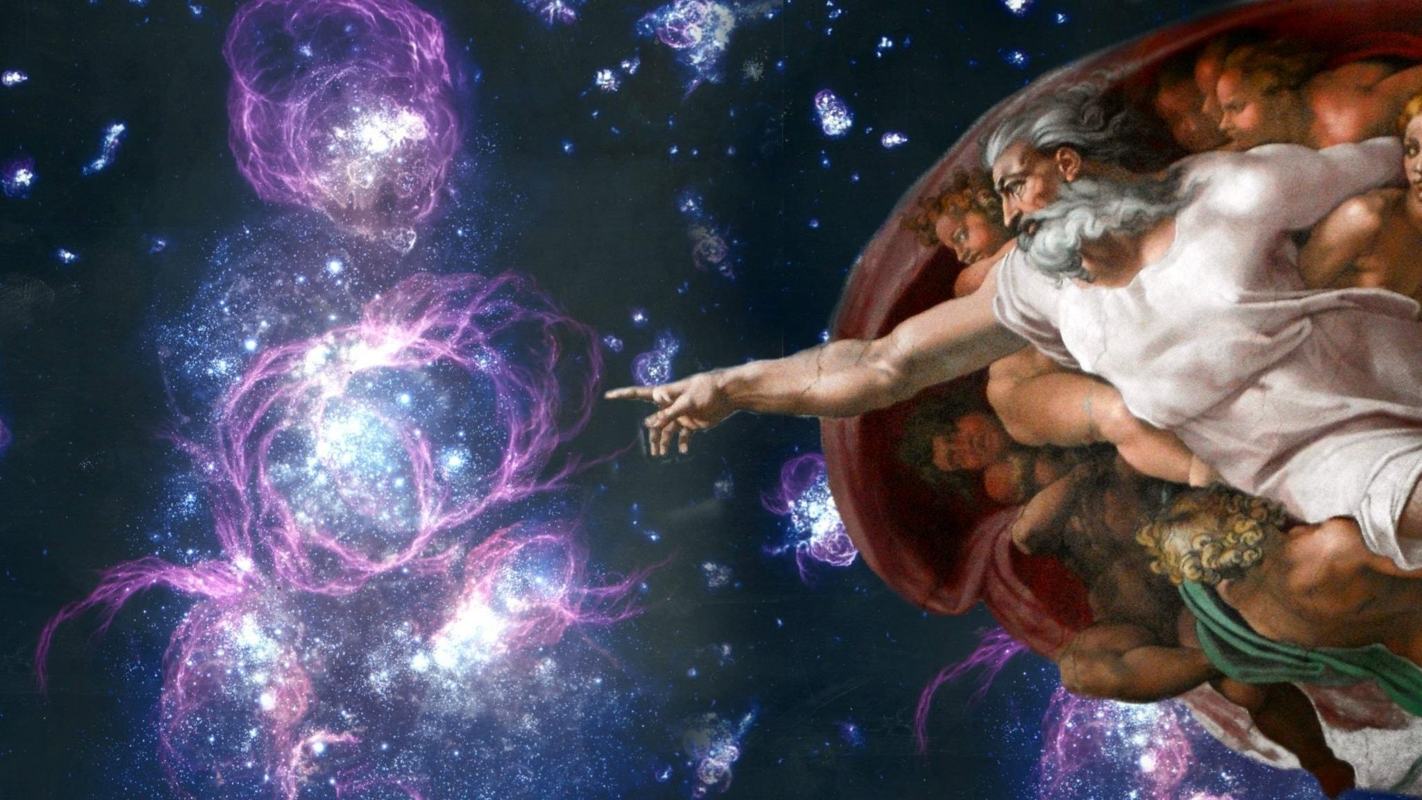 En del av Michelangelos gestaltning av människans skapelse, från Sixtinska kapellet, tillsammans med Adolf Schallers tolkning stjärnformationer I ett mycket ungt universum. Bilden är ett montage.