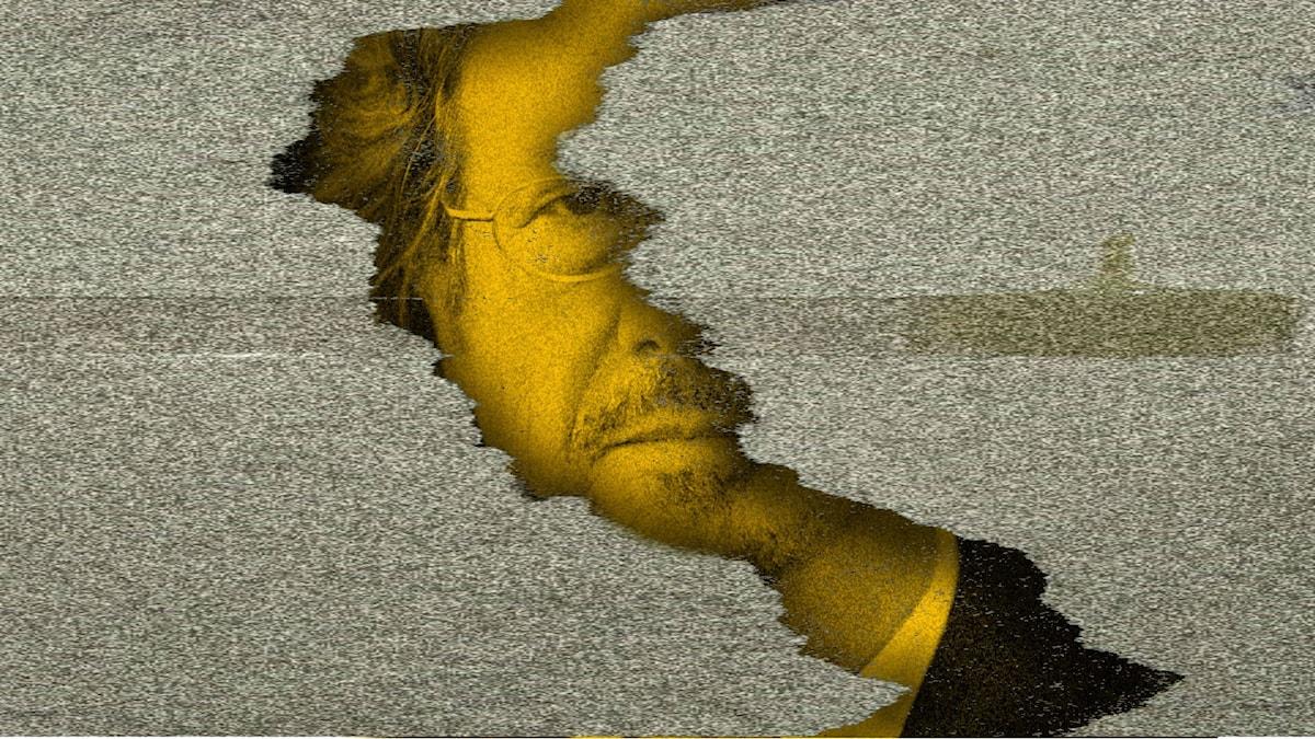 Peter Handke och sprickan i muren. Montage/manipulerad bild.