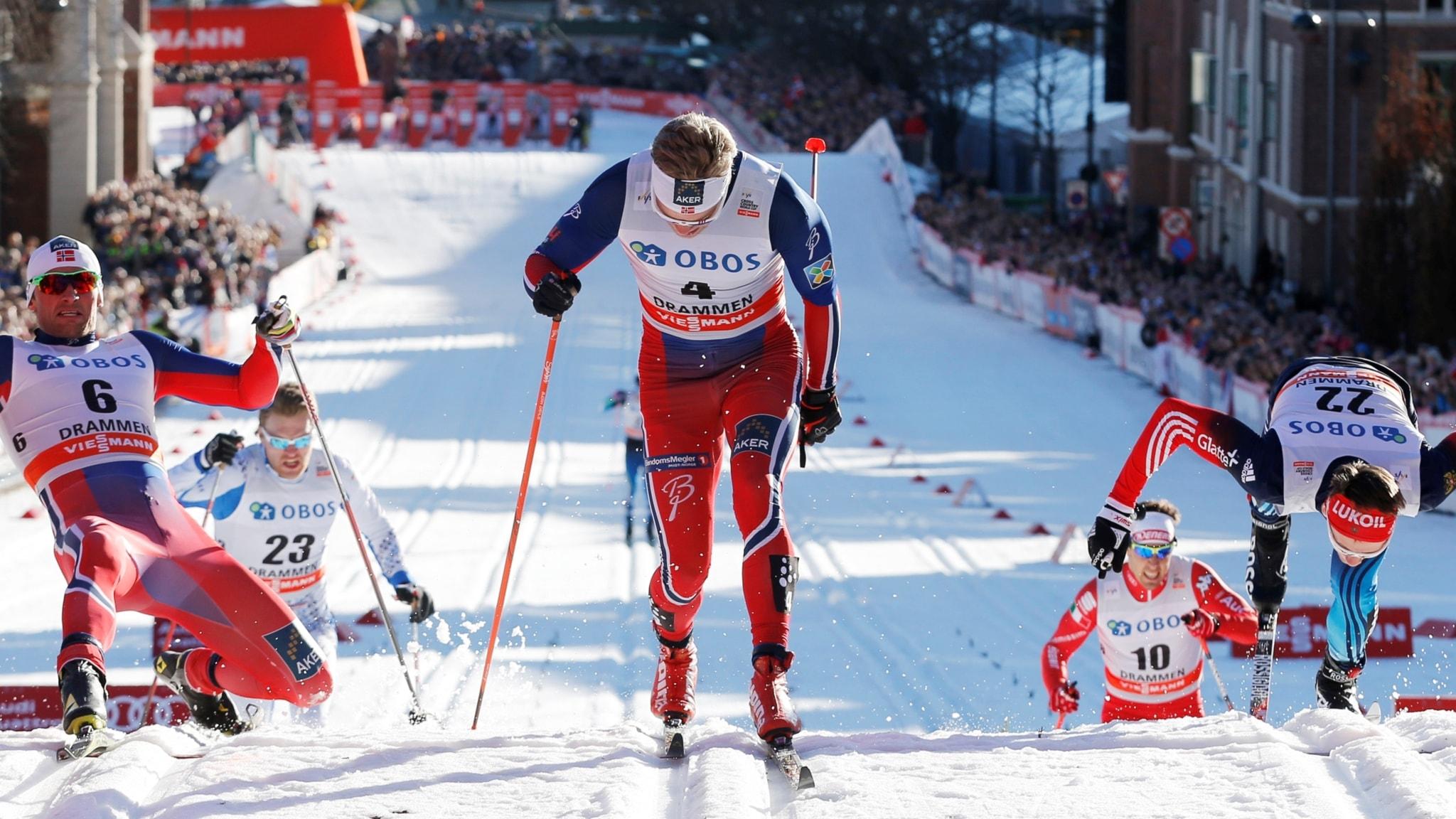 Petter Northug vinner ett sprintlopp.