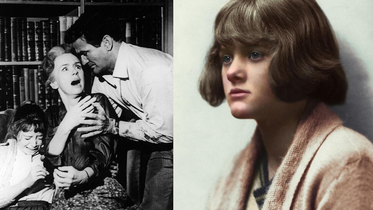 """Daphne du Maurier (till höger) samt Tippi Hedren och Rod Taylor i Hitchcocks """"Fåglarna""""."""
