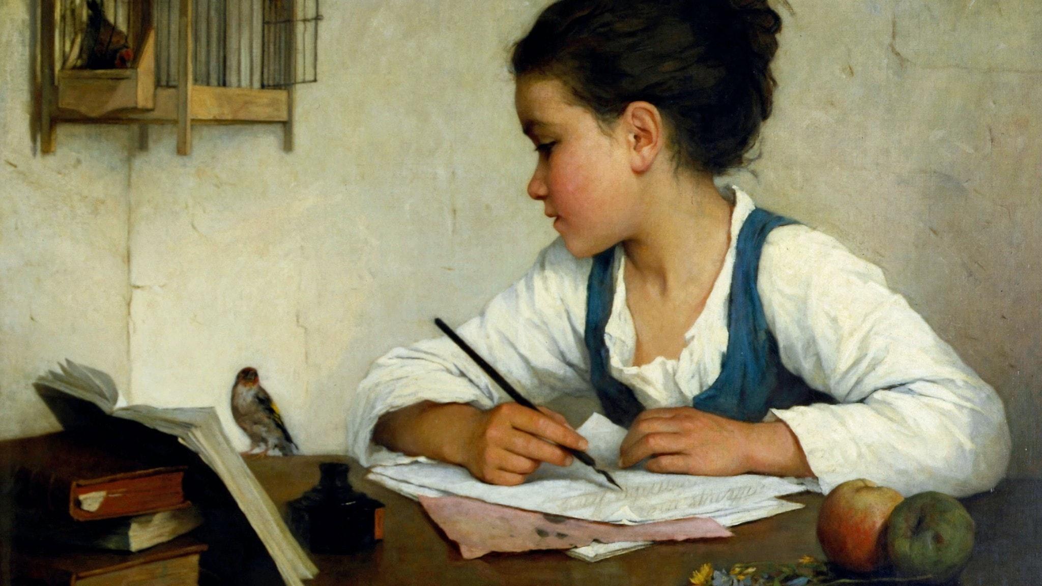 """Henriette Browne (1829-1901): """"A Girl Writing; The Pet Goldfinch""""(beskuren)"""