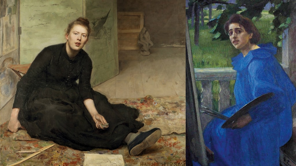 """Hanna (Hirsch) Paulis målning """"Konstnären Venny Soldan-Brofeldt"""", 1886 –1887, Göteborgs konstmuseum. Till höger: """"Hanna [Hirsch Pauli] i blå klänning"""" av Georg Pauli., 1896. Jönköpings läns museum."""