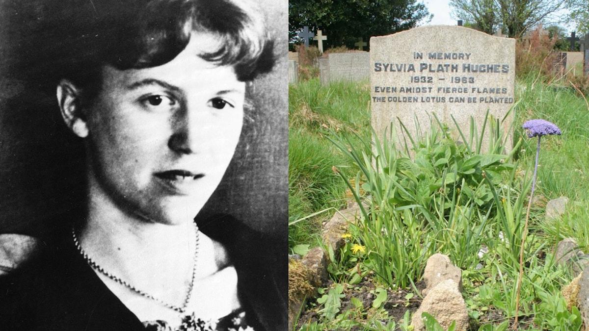 Sylvia Plath och hennes gravsten.