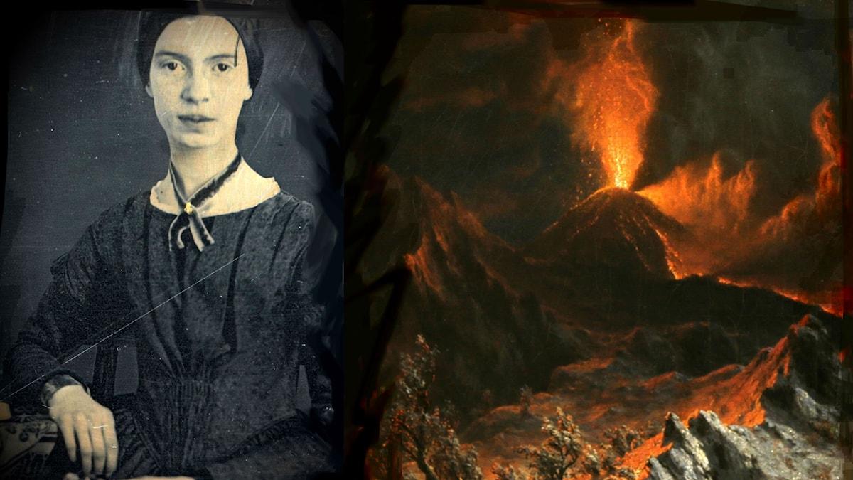 """Det första kända fotot på Emily Dickinson, 1847, och målningen """"Vesuvius vid midnatt"""" från 1867, av den amerikanske konstnären Albert Bierstadt."""