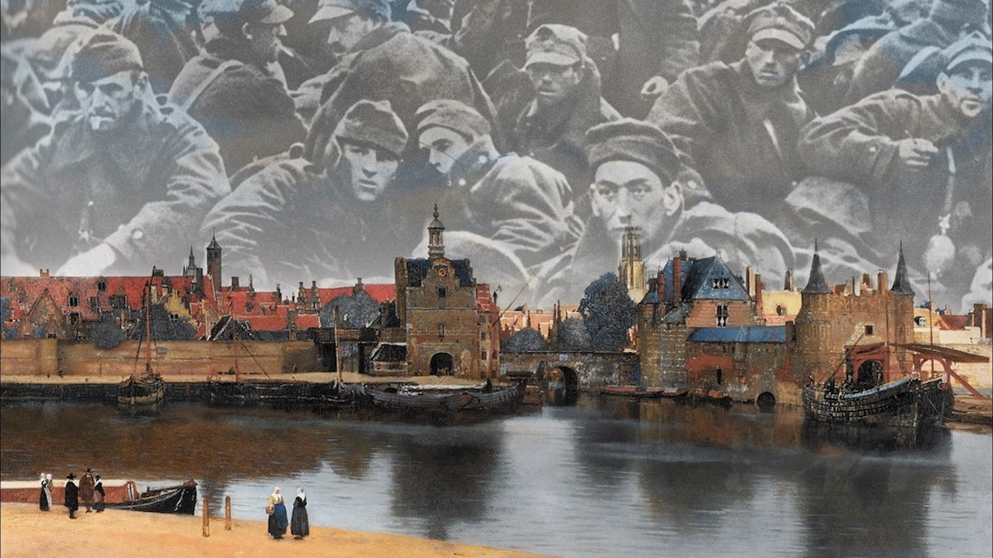 Montage: Johannes Vermeers Vy över Delft (beskuren) med polska krigsfångar under 2:a Världskriget.