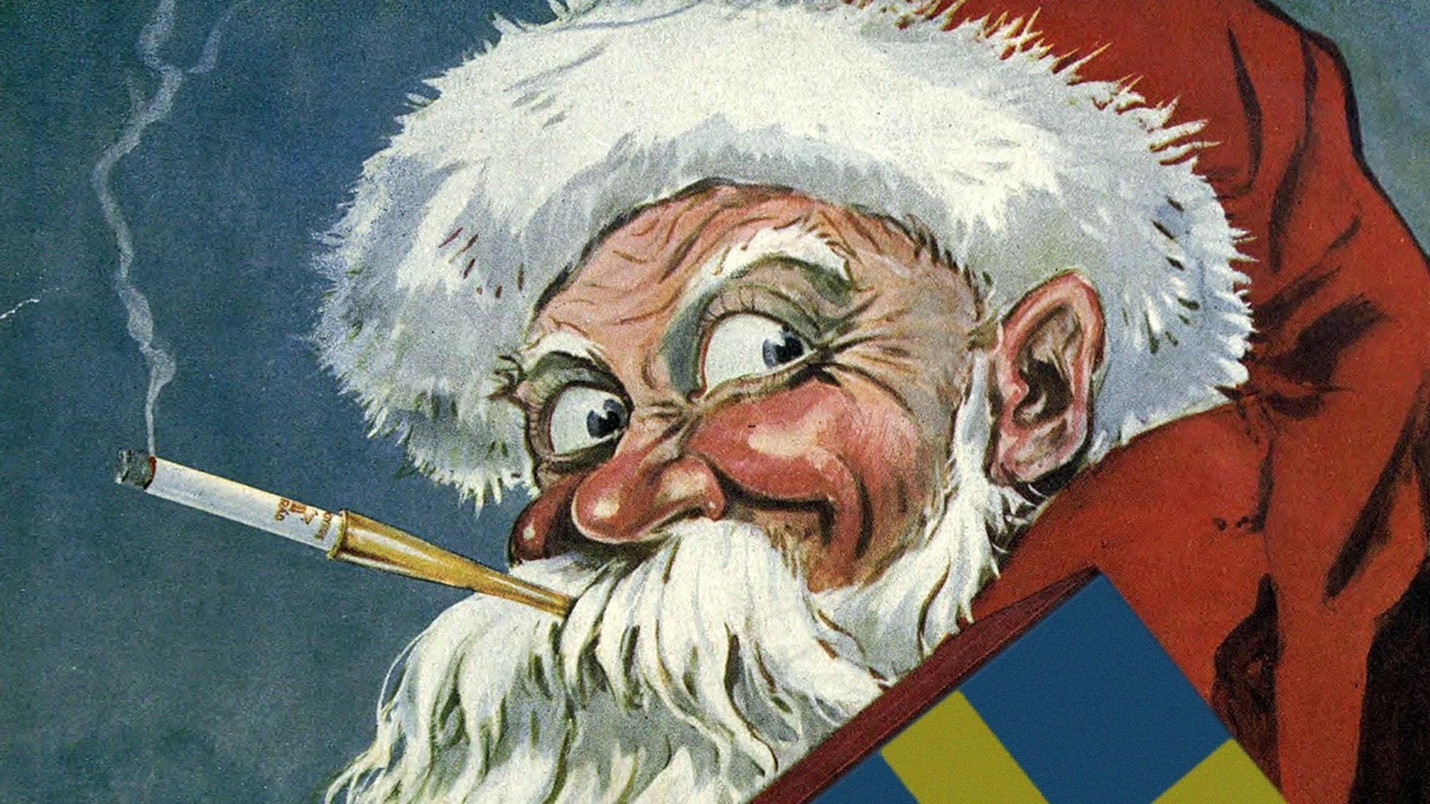 Tomte ur cigarettreklam från 1919 med cigarettpaketet utbytt mot en svensk flagga