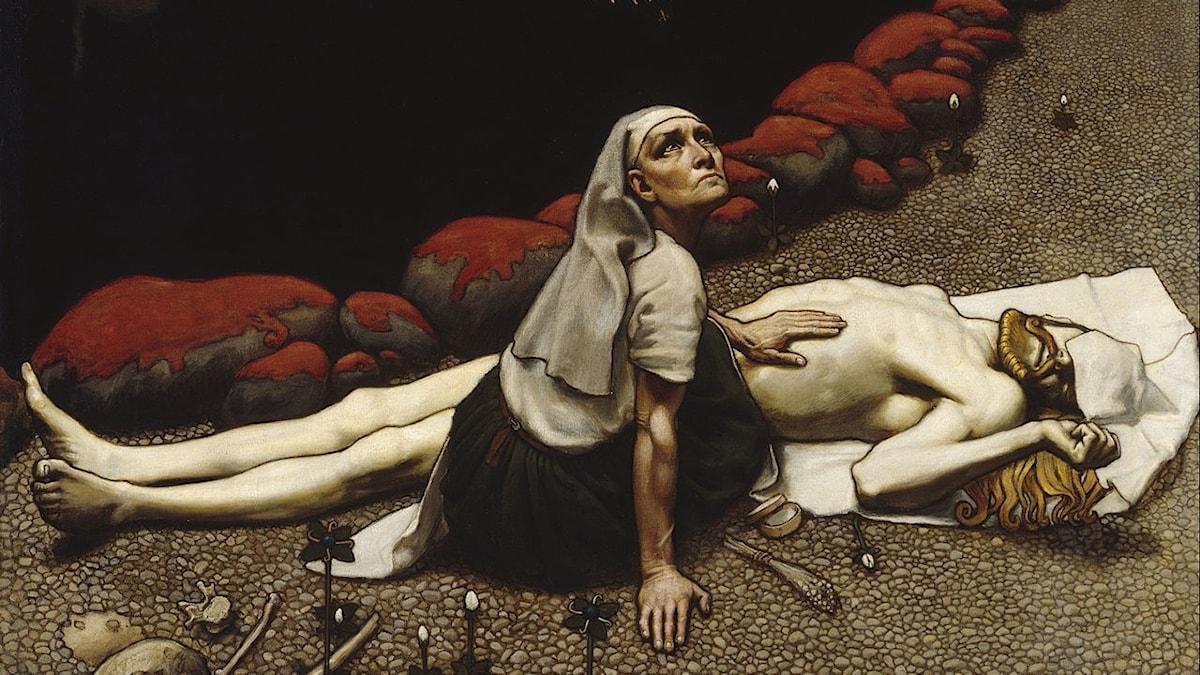 """""""Lemminkäinens mor"""" av Akseli Gallen-Kallela (1865–1931), 1897."""