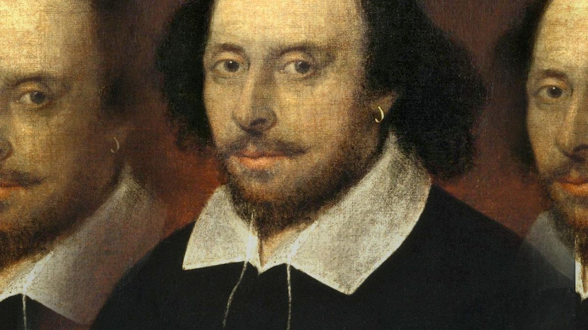 Montage med porträtt som anses föreställa William Shakespeare, daterat omkring 1610, året efter sonetternas utgivning.