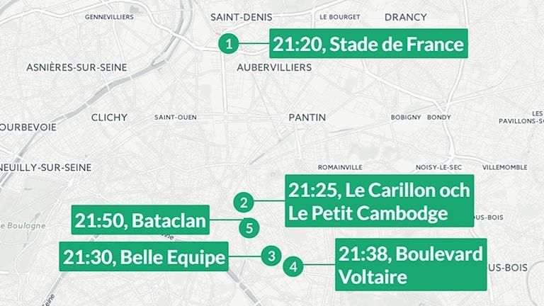 Karta över terrordåden i Paris