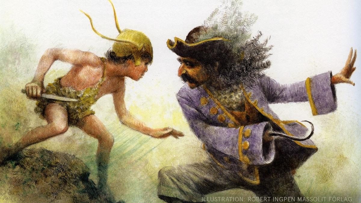 Peter Pan Del 16 av 18: Den sista striden Illustration: Robert Ingpen Massolit förlag