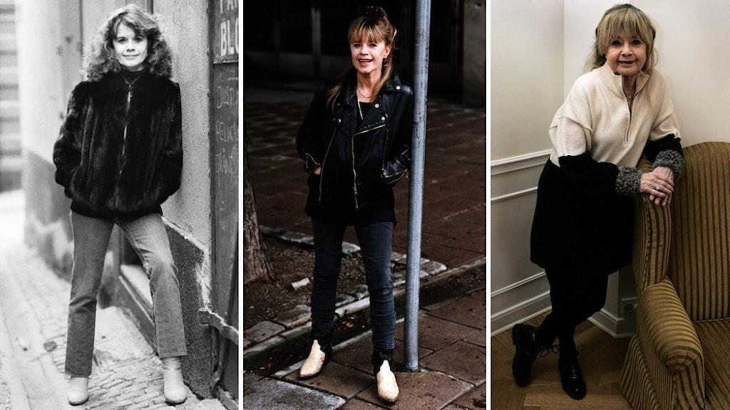 Tre porträtt i helfigur av skådespelaren Lena Nyman.