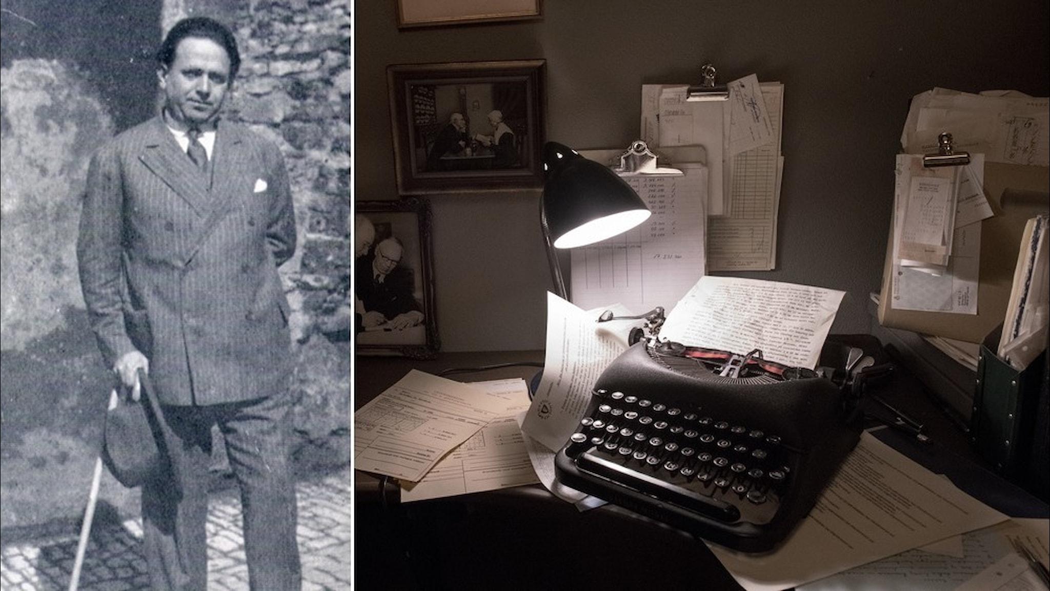 Kurt Tucholsky i Paris, 1928, och en skrivmaskin av äldre modell.