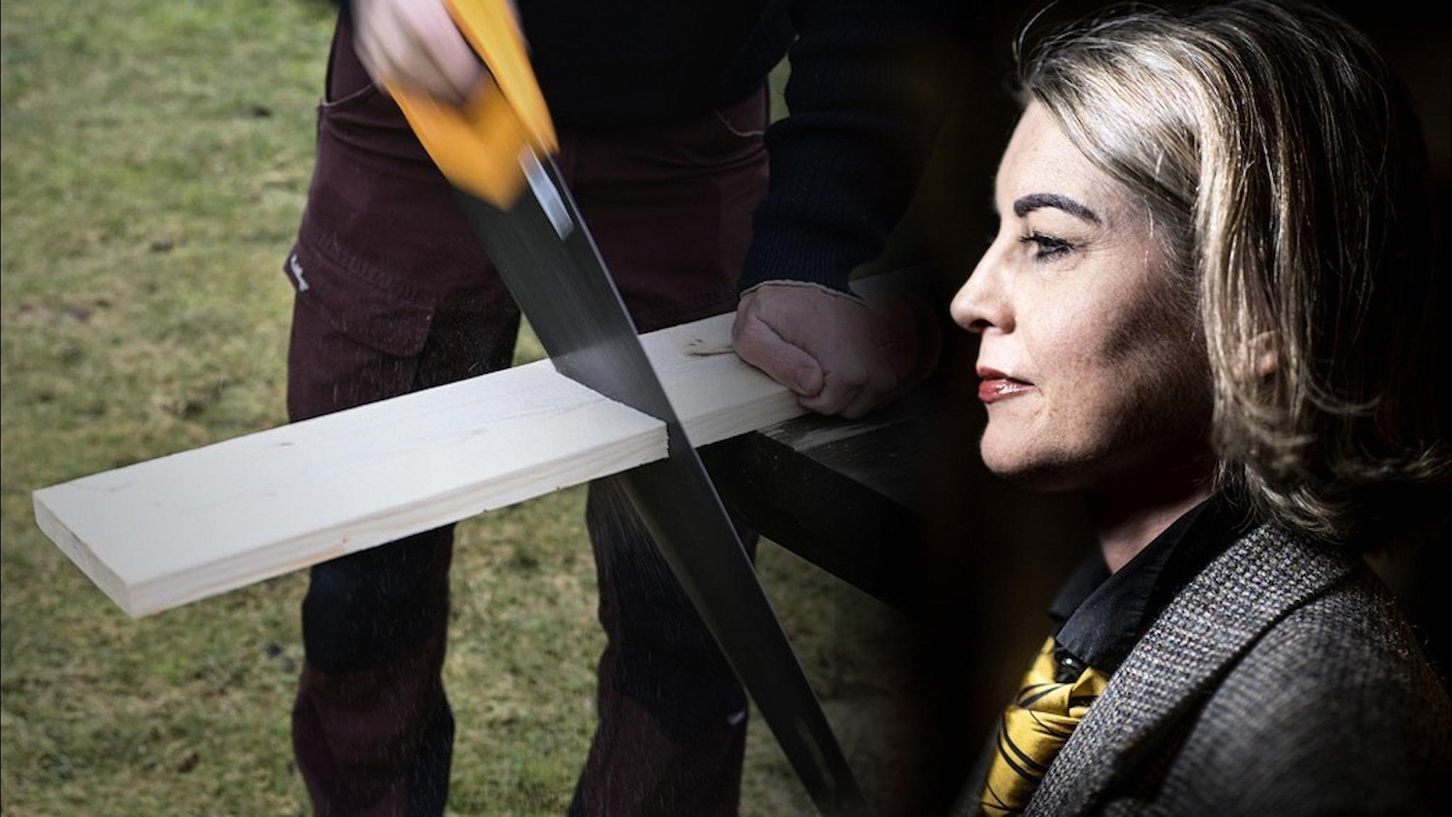 En man som sågar en planka ihopsmällt med en bild i profil av journalisten Linda Skugge.