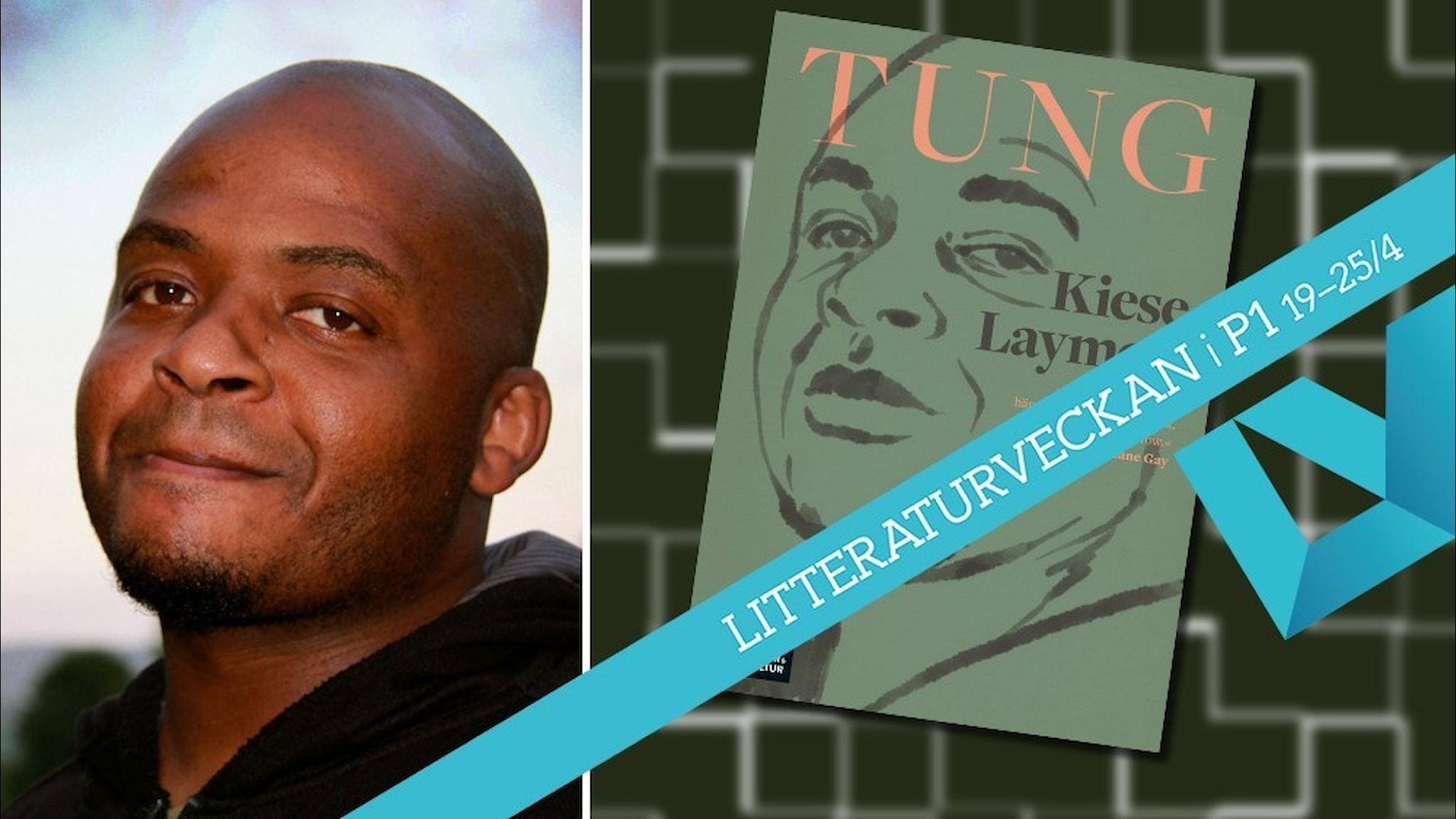 Porträtt av författaren Kiese Laymon och infällt i bilden är omslaget till hans bok Tung.